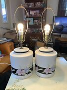 Signed Pair Murray Feiss Ceramic Vintage Table Lamps Oriental Floral Design