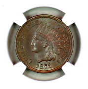 1871 Ms64 Bn Ngc Indian Head Penny Premium Quality Superb Eye Appeal