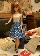 1958 1962 1966 Midge And Barbie Dolls And Clothes Lot Mattel And 2 Travel Cases Japan