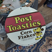 Vintage 1943 Post Toasties Corn Flakes ''mickey Mouse' Porcelain Gas And Oil Sign