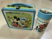 Vintage Used 1970's Walt Disney World Lunch Box And Thermos Mickey Mouse