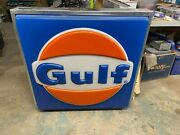 Gulf Gas Station Sign Oil Advertising 36 X 37 Vintage Man Cave Birthday No Light