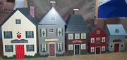 5 Vintage Country Cottage Wooden House Shaped Canister Set With Plastic Inserts