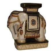 Figural Old Chinese Elephant Stand Wucai Plant Stand Asian Theme Home Decoration
