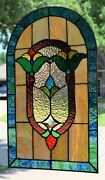 Victorian Style Stained Glass Window Panel 13.5 X 23