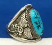 Vintage Signed E. Bahe 925 Sterling Silver Navajo Turquoise Mens Ring Size 10.5