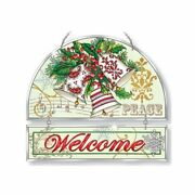 Amia I Heard The Glittering Bells Painted Rippled Glass Christmas Welcome Panel
