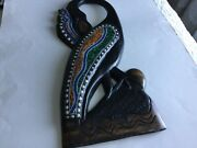 African Wood Carve Hand Crafted In Ghana Black Flamingo Beaded
