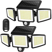 2 Pack Solar Motion Sensor Lights 264 Led 2500lm Waterproof With Remote Control