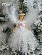 Shabby Chic Victorian Christmas White Angel Ornament Pink Roses Ribbon Feathers