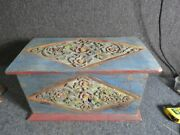 Antique Hand Carved And Painted Bridal Box