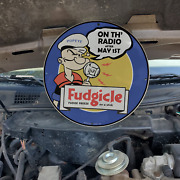 Vintage 1938 Fudgicle Fudge Freeze 'popeye Radio Show' Porcelain Gas And Oil Sign