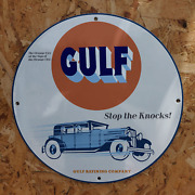 Vintage Gulf Oil Refining Company And039and039stop The Knocksand039and039 Porcelain Gas And Oil Sign