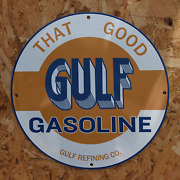 Vintage Gulf Gasoline Refining Co. And039and039that Goodand039and039 Porcelain Gas And Oil Pump Sign