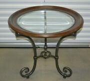 Ethan Allen Collectors Classics Round End Table Wood Iron Beveled Glass 13-8133a
