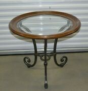 Ethan Allen Collectors Classics Round End Table Wood Iron Beveled Glass 13-8133b
