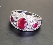 Vintage 3.00 Ctw Ruby Cigar Band 14k White Gold Ring Menand039s Womanand039s Size 11.5