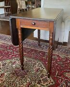 Antique Sheraton Mahogany Swirl Leg Drop Leaf Table With Drawer 1800and039s