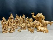 18 Piece Set 1970 Holland Mold Large Nativity Set Brown Stained