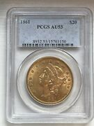 1861 20 Pcgs Au53 Liberty Double Eagle Gold Coin Civil War Nice - Looks Great