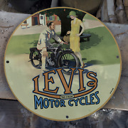 Vintage 1938 Two Stroke Motor Cycles Porcelain Gas And Oil Pump Sign