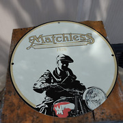Vintage 1928 Matchless Associated Motor Cycles Ltd. Porcelain Gas And Oil Sign