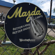 Vintage 1924 Mazda Lamps Westinghouse Electric Co. Porcelain Gas And Oil Sign