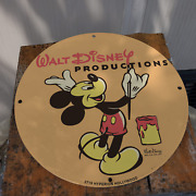 Vintage Walt Disney Productions ''mickey Mouse'' Porcelain Gas And Oil Pump Sign