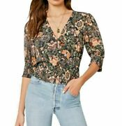 Cupcakes And Cashmere Abra Floral Print Chiffon Blouse Large