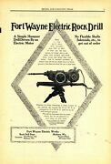 1911 Fort Wayne Electrical Works Ad Electric Rock Drill W/ Specifications