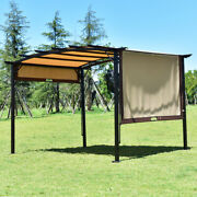 12' X 9' Pergola Kit Metal Frame Gazebo And Polyester Removable Canopy Cover Patio
