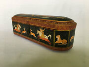 Hand Carved Painted Wooden Pencil Box Antique Or Vintage Or Old Look.