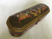 Hand Carved Painted Wooden Pencil Box , Antique Or Vintage Or Old Look.