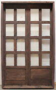 Rustic Reclaimed Lumber Square Top Double Door Solid Wood Castle Winery Glass