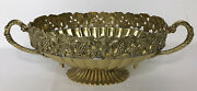 Vintage India Solid Brass Bowl Fruit Trim Scalloped Footed Handles