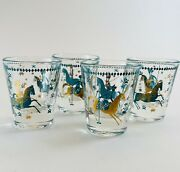 Vintage Shot Glasses Mcm Barware Teal And Gold Persian Polo Unique Rare Set Of 4