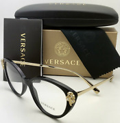 New Versace Reading Glasses Ve 3262-b Gb1 52-16 140 Black And Gold Frames Readers