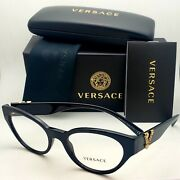 New Versace Reading Glasses Ve 3282 Gb1 53-19 Black And Gold Cateye Frames Readers