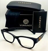 New Versace Reading Glasses Ve 3283 Gb1 52-17 140 Black And Gold Frames Readers