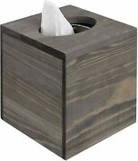 4.8 Inch Vintage Gray Wood Square Tissue Box Cover W/ Slide-out Bottom Panel