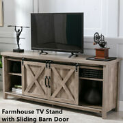 Farmhouse Tv Stands Wooden Storage Cabinets W/ Sliding Doors Up To 65 Inch Oak