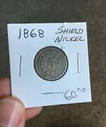 1868 Shield Nickel Nice Detail Antique Coin Ready To Add To Collection