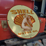 Vintage 1902 Shell Motor Oil Royal Dutch Shell Porcelain Gas And Oil Pump Sign