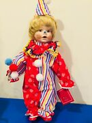 Vintage 16 Porcelain Clown Doll With Stand, Balloons Shoes With Shoestrings New