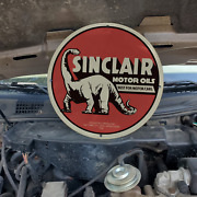 Vintage 1916 Sinclair Motor Oils And039best For Motor Carsand039 Porcelain Gas And Oil Sign