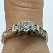 18kw Gold 1ctw Rbc And Tapered Baguette Diamond Engraved Engagement Ring Size 7.5