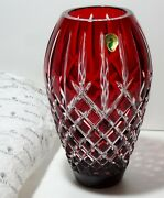 Waterford Crystal Araglin 9 Vase Ruby Red Cut To Clear