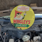 Vintage Wrigley's Doublemint Peppermint Chewing Gum Porcelain Gas And Oil Sign