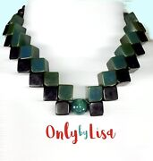 Art Deco Inspired Green And Black Bakelite Geometric Necklace One Of A Kind