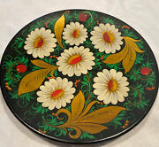 Vnt 50 Y Old Russian Hand Painted Wooden Black Lacquer Decorative Plate Flowers